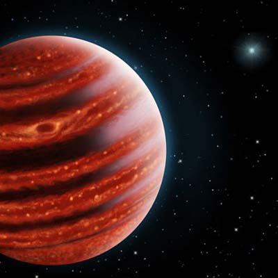 Graphic of a red striped planet and stars beyond